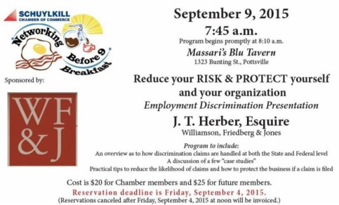 9-9-2015, Employment Discrimination Presentation, Massari's Blu Tavern, Pottsville