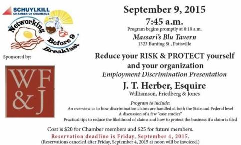 9-9-2015, Employment Discrimination Presentation, Massari's Blu Tavern, Pottsville