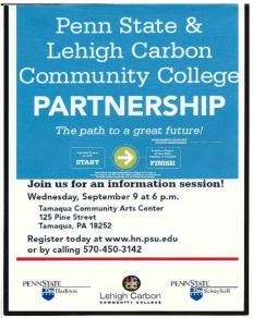 9-9-2015, Penn State and LCCC Partnership, Information Session, Community Arts Center, Tamaqua