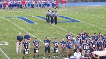 Blue Out Football Game, Benefit for Thelma Urban, Raider Band, Sports Stadium, Tamaqua, 9-4-2015 (253)