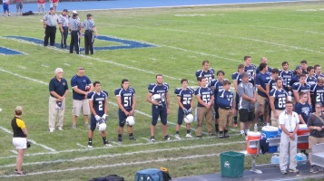 Blue Out Football Game, Benefit for Thelma Urban, Raider Band, Sports Stadium, Tamaqua, 9-4-2015 (254)