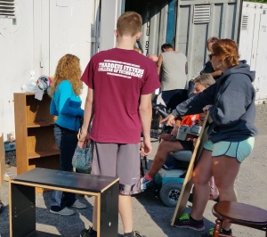 Members of the Tamaqua Volunteers group help giveaway some items drop-off during the last giveaway,