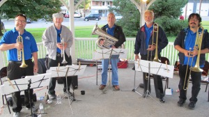 Music in the Park, Tin Roof Brass Band performs, Kennedy Park, Lansford, 9-13-2015 (2)