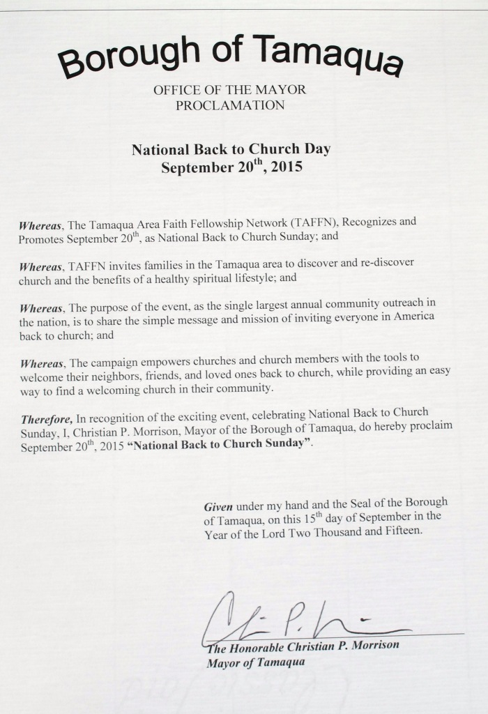 National Back to Church Day Proclamation, via Mayor Chris Morrison, Depot Square Park, Tamaqua (3)
