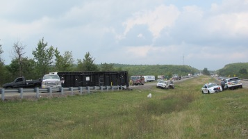Overturned Camper, Pickup, Mile Marker 134, Delano exit, Southbound, Interstate 81, 9-4-2015 (20)