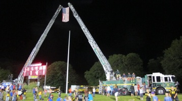 Sept. 11 Remembrance, Flag, Firefighters, Panther Valley Stadium, Lansford, 9-11-2015 (12)