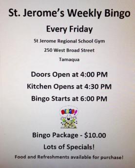 St Jerome Weekly Bingo, Tamaqua