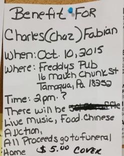 10-10-2015, Benefit For Charles (Chaz) Fabian, Freddy's Pub, Tamaqua
