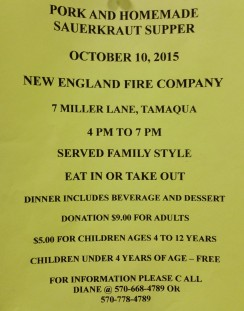 10-10-2015, Pork & Homemade Sauerkraut Dinner, New EnglandWalker Township Fire Company, Tamaqua