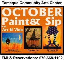 10-13, 14, 15-2015, October Paint & Sips, Tamaqua Community Arts Center