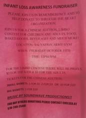 10-15-2015, Infant Loss Awareness Fundraiser, Tamaqua Salvation Army, Tamaqua