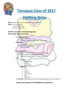 10-16, 17, 18-2015, Tamaqua Class of 2017 Clothing Drive, Citizen s Fire Company, Tamaqua