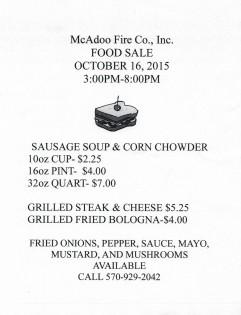 10-16-2015, Food Sale, McAdoo Fire Company, McAdoo