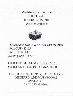 10-16-2015, Food Sale, McAdoo Fire Company, McAdoo