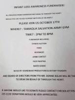 10-17-2015, Infant Loss Awareness Fundraiser, Tamaqua Salvation Army, Tamaqua