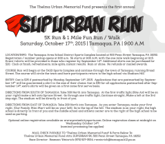 10-17-2015, SubUrban 5K Run, 1 Mile Fun Run and Walk, TASD Sports Stadium and Through Tamaqua