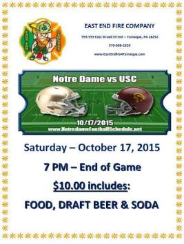10-17-2015, Tailgate Party, Notre Dame vs USC, East End Fire Company, Tamaqua