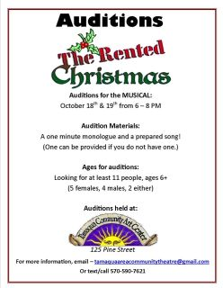 10-18, 19-2015, Auditions for The Rented Christmas, Tamaqua Community Arts Center, Tamaqua