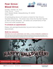 10-18-2015, Geissinger Blood Drive, receive Fear Grove tickets, WMGH, AM 1410, Radio Station, Nesquehoning