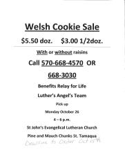 10-18-2015, Last Day to Preorder Welsh Cookies, via Relay For Life Luthers Angel s Team, St John EL Church, Tamaqua