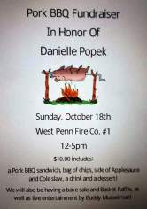 10-18-2015, Pork BBQ Fundraiser, in Honor of Danielle Popek, West Penn Fire Company, West Penn
