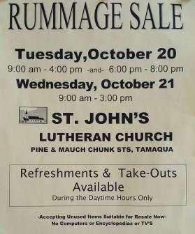 10-20, 21-2015, Rummage Sale, St. John's Lutheran Church, Tamaqua