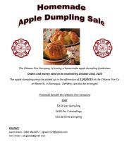 10-23-2015, Last Day to Order Homemade Apple Dumplings, Citizens Fire Company, Tamaqua