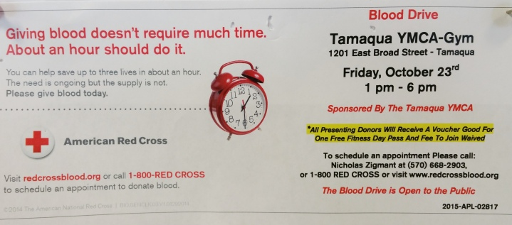 10-23-2015, Red Cross Blood Drive, Tamaqua YMCA, Tamaqua