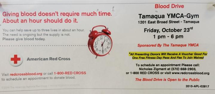 10-23-2015, Red Cross Blood Drive, Tamaqua YMCA, Tamaqua
