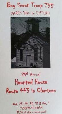 10-23, 24, 30, 31, 11-1-2015, Clamtown Haunted House, Off of Route 443, Clamtown