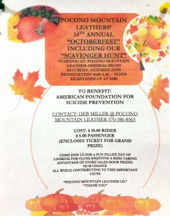 10-24-2015, Halloween Scavenger Hunt Ride, benefits Suicide Prevention and Awareness Program, Pocono Mountain Leather, Andreas, West Penn