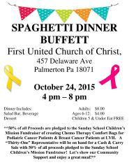 10-24-2015, Spaghetti Dinner, First United Church of Christ, Palmertown