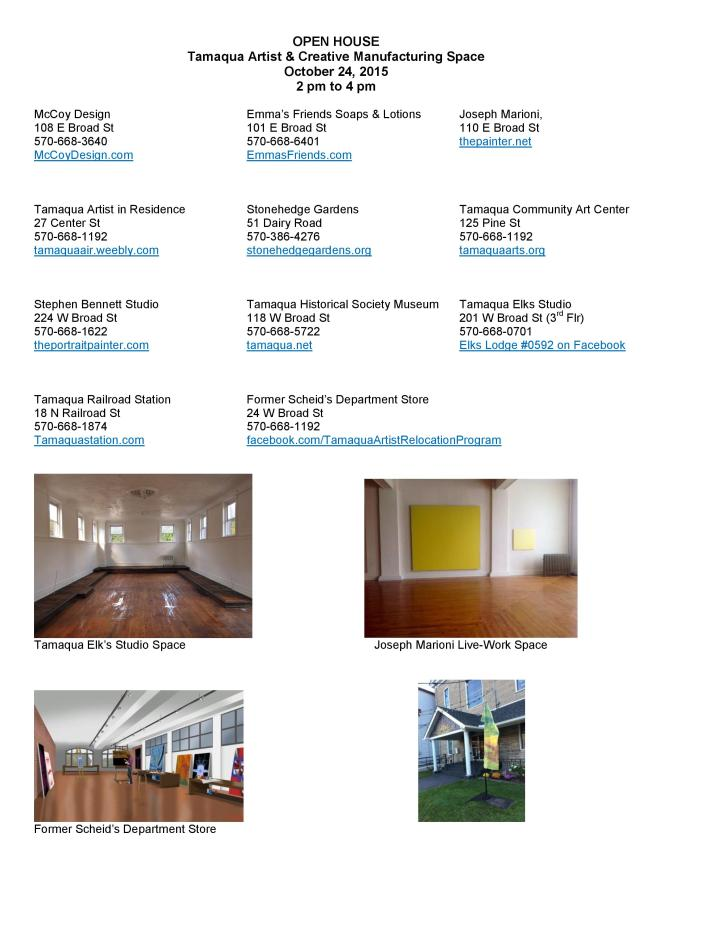 10-24-2015, Tamaqua Artist & Creative Space Open, Tamaqua