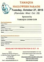 10-27-2015, Tamaqua Halloween Parade Registation Form, Broad Street, Tamaqua