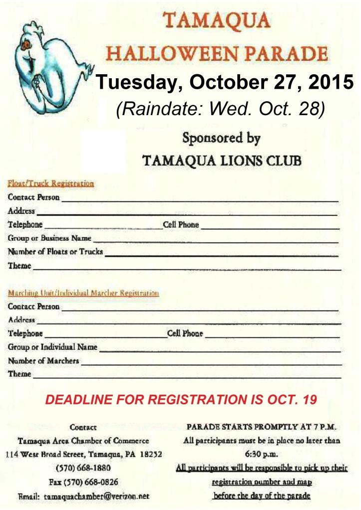 10-27-2015, Tamaqua Halloween Parade  Registation Form, Broad Street, Tamaqua