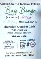 10-29-2015, Bag Bingo, Carbon Career and Technical Institute, Jim Thorpe