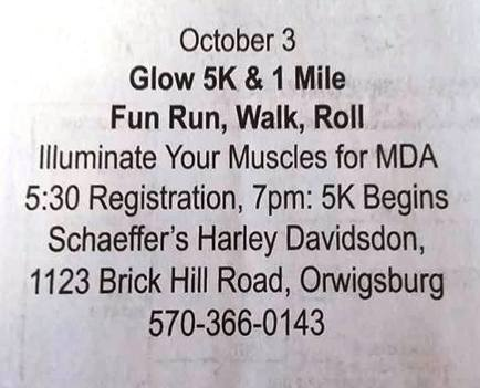 10-3-2015, Glow 5K and 1 Mile Fun Run, Walk, Roll, Schaeffers Harley Davidson, Orwigsburg