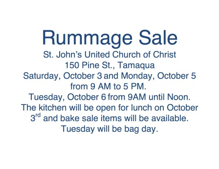 10-3, 5, 6-2015, Rummage Sale, St. John's United Church of Christ, Tamaqua
