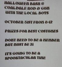 10-31-2015, Halloween Bash with the Local Boys, (must be 21), Coaldale Rod and Gun Club, Coaldale