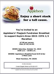 10-31-2015, Kayla's Krew 2015- CCFA 12 Marathon Flapjack Breakfast Fundraiser, Applebee's, Hazleton