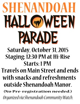 10-31-2015, Shenandoah Community Halloween Parade, flyer, Shenandoah