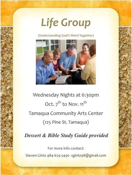 10-7 to 11-11-2015, Wednesdays, Life Group Program, Tamaqua Community Arts Center, Tamaqua