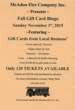 11-1-2015, Fall Gift Card Bingo, McAdoo Fire Company, McAdoo