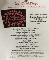 11-1-2015, Gift Card Bingo, Chinese Auction, benefits Dance Explosion PRIDE, Recreation Center, Nesquehoning