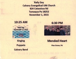 11-1-2015, Rally Day, Calvary Evangelical United Methodist Church, Tamaqua, Walker Township
