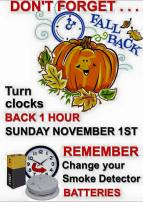 11-1-2015, Turn Your Clocks Back 1 Hour, Sunday, November 1, 2015