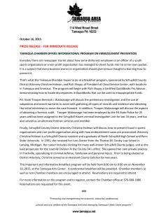 11-10-2015, Embezzlement Prevention Program, via Tamaqua Chamber of Commerce, Tamaqua Community Arts Center, Tamaqua