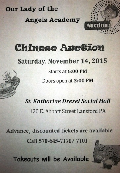 11-14-2015, Chinese Auction, Our Lady of Angels Academy, Lansford