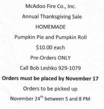 11-17-2015, Last Day to Order Homemade Pumpkin Pie or Pumpkin Roll, McAdoo Fire Company, McAdoo