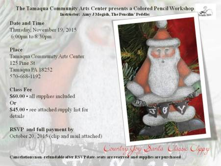 11-19-2015, Colored Pencil Workshop, theme Country Joy Santa Classic Clippy, Tamaqua Community Arts Center, Tamaqua (2)